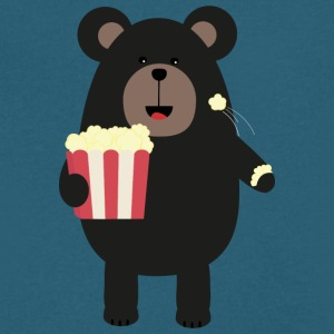 Black bear eating Popcorn S0sfd T-Shirts - Men's V-Neck T-Shirt by Canvas