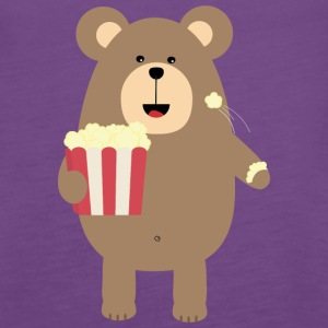 Brown Bear eating popcorn S13s7 Tanks - Women's Premium Tank Top