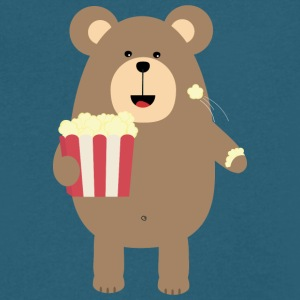 Brown Bear eating popcorn S13s7 T-Shirts - Men's V-Neck T-Shirt by Canvas