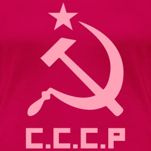 Communist Flag C.C.C.P Hammer & Sickle - Women's Premium T-Shirt