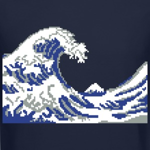 Hokusai Wave Pixel art Long Sleeve Shirts - Crewneck Sweatshirt