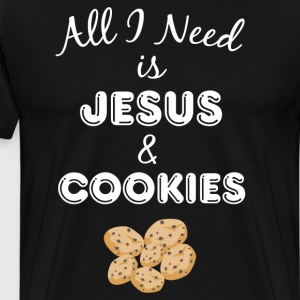 All I Need is Jesus & Cookies Christian Foodie  T-Shirts - Men's Premium T-Shirt