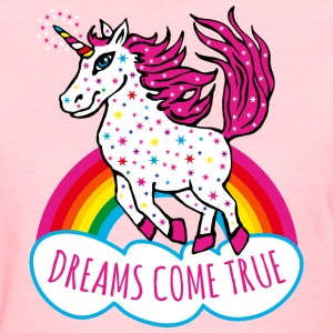 Unicorn Rainbow Dreams come true Stars Fun Tee - Women's T-Shirt