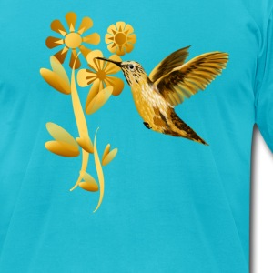 Gold Hummingbird - Men's T-Shirt by American Apparel