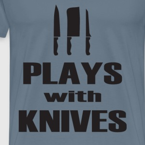 Plays With Knives Chef T-Shirts - Men's Premium T-Shirt