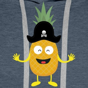 Pineapple Pirate with Hat Sk3o1 Men's Long Sleeve - Men's Premium Hoodie