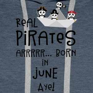 Real Pirates are born in JUNE Sr2xh Men's Long Sleeve - Men's Premium Hoodie