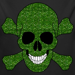 Faux Green Glitter Skull And Crossbones Baby One P - Long Sleeve Baby Bodysuit