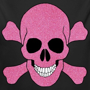 Pink Glitter Skull And Crossbones Baby One Piece - Long Sleeve Baby Bodysuit