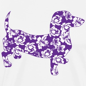 Purple Floral Hawaiian Dachsund - Men's Premium T-Shirt