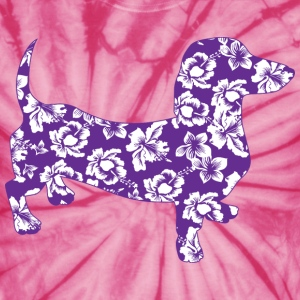Aloha Dachshund in Purple Hawaiian Flowers - Unisex Tie Dye T-Shirt