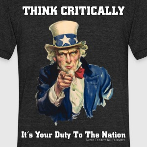 Think Critically Mens Tri-Blend Performance T-Shir - Unisex Tri-Blend T-Shirt by American Apparel