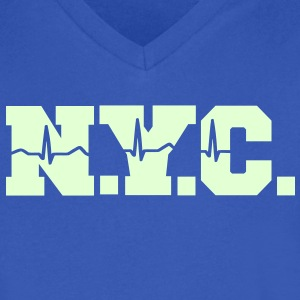 NEW YORK CITY heart beat T-Shirts - Men's V-Neck T-Shirt by Canvas