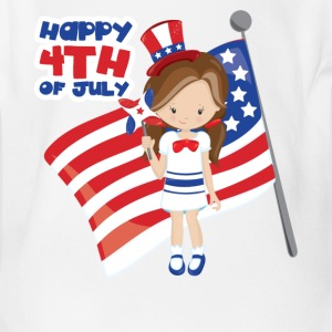 Happy 4th of July US Girl Baby Bodysuits - Short Sleeve Baby Bodysuit