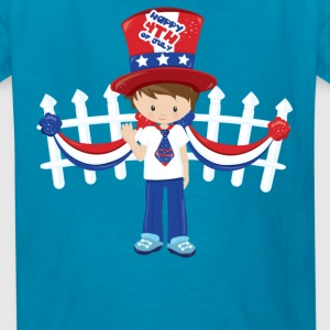 Happy 4th of July USA white picket fence - Kids' T-Shirt
