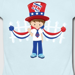 Happy 4th of July USA white picket fence - Short Sleeve Baby Bodysuit
