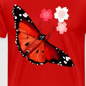 HOT BIG BRIGHT BUTTERFLY and Cherry Blossoms - Men's Premium T-Shirt