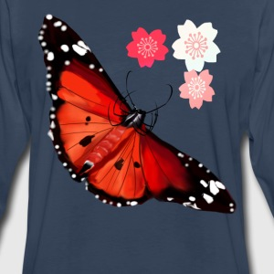 HOT BIG BRIGHT BUTTERFLY and Cherry Blossoms - Men's Premium Long Sleeve T-Shirt