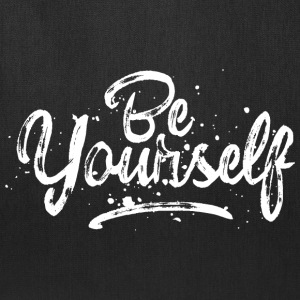 Be Yourself - fancy lettering - cool quote (white) Bags & backpacks - Tote Bag
