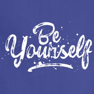 Be Yourself - fancy lettering - cool quote (white) Aprons - Adjustable Apron