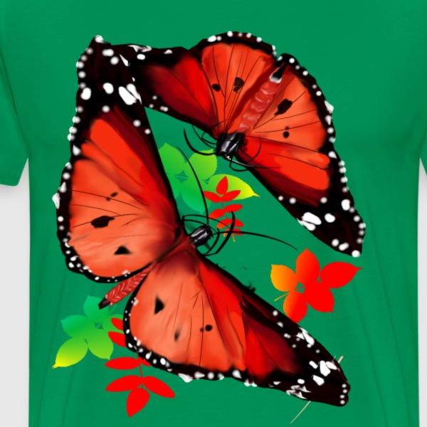 TWO BIG BRIGHT ORANGE BUTTERFLIES - Men's Premium T-Shirt