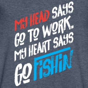 My Heart Says Fishing Loving Geek Picnic Angling - Men's V-Neck T-Shirt by Canvas