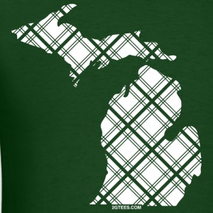 Michigan-Plaid-White T-Shirts - Men's T-Shirt