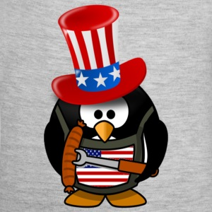 4th Of July The Patriotic Penguin - Baby Contrast One Piece