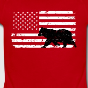 USA Flag with Black Bear Baby Bodysuits - Short Sleeve Baby Bodysuit