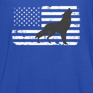 USA Flag with Lone Wolf Tanks - Women's Flowy Tank Top by Bella