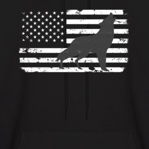USA Flag with Lone Wolf Hoodies - Men's Hoodie
