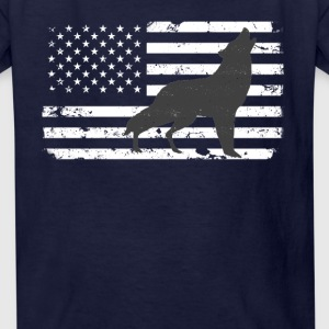 USA Flag with Lone Wolf Kids' Shirts - Kids' T-Shirt