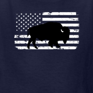 USA Flag and Wild Buffalo Kids' Shirts - Kids' T-Shirt