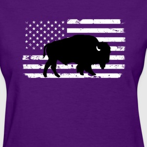 USA Flag and Wild Buffalo T-Shirts - Women's T-Shirt