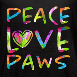 Peace Love Paws Psychedelic Dog Lover Graphic - Women's Flowy Tank Top by Bella
