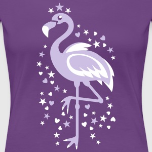 Flamingo Pink Magic Exsotic Bird Star stars Birds  - Women's Premium T-Shirt