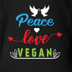 Peace Love Vegan Baby Bodysuits - Short Sleeve Baby Bodysuit