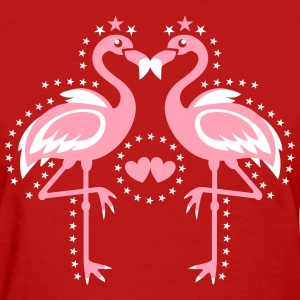 Flamingo Pink Magic Exsotic Bird Star stars Birds  - Women's T-Shirt