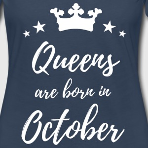 Queens Are Born In October Long Sleeve Shirts - Women's Premium Long Sleeve T-Shirt