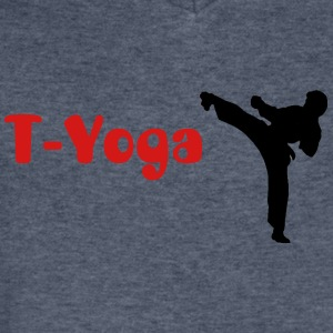 Men's T-Yoga shirt for Taekwondo yoga class in brown - Men's V-Neck T-Shirt by Canvas