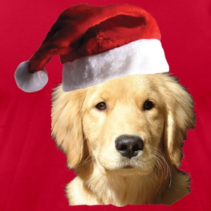 A Cute Golden Retriever in a Santa Claus Hat - Men's T-Shirt by American Apparel
