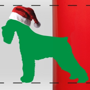 German Schnauzer with a Santa Claus Hat on - Full Color Panoramic Mug