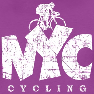 NYC Cycling Distressed White T-Shirts - Women's Premium T-Shirt