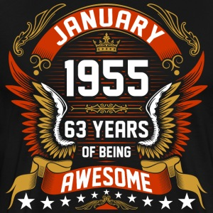 January 1955 63 Years Of Being Awesome T-Shirts - Men's Premium T-Shirt
