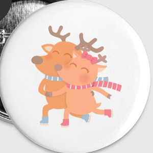 Reindeer Couple On Skates Buttons - Large Buttons