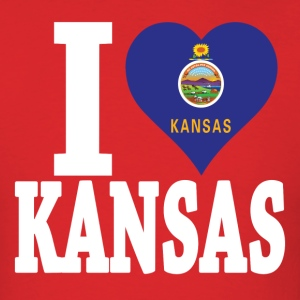 I love Kansas flag USA t-shirt - Men's T-Shirt