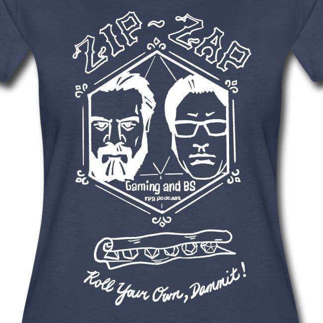 Zip Zap T - White Outline - Ladies