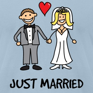 Just Married Newlyweds Cartoon T-Shirts - Men's T-Shirt by American Apparel