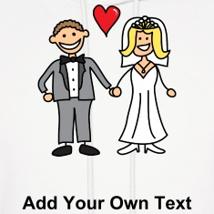 Bride and Groom Cartoon - Add Your Own Text Hoodies