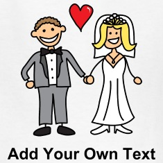 Bride and Groom Cartoon - Add Your Own Text Kids' Shirts